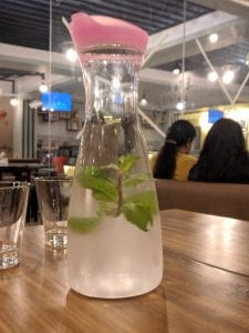 Picture of glass bottle in cafe fresska