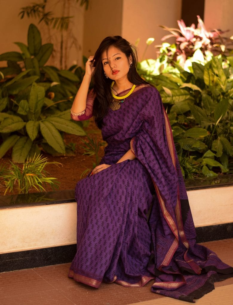 Picture of girl wearing HANDBLOCK SAREE FROM UNNATI SILKS