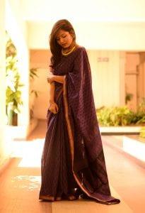 Picture of girl wearing HANDBLOCK SAREE FROM UNNATI SILKS