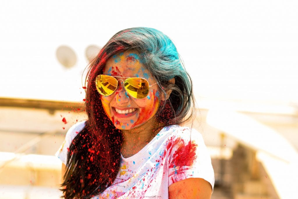 Picture of a girl playing holi