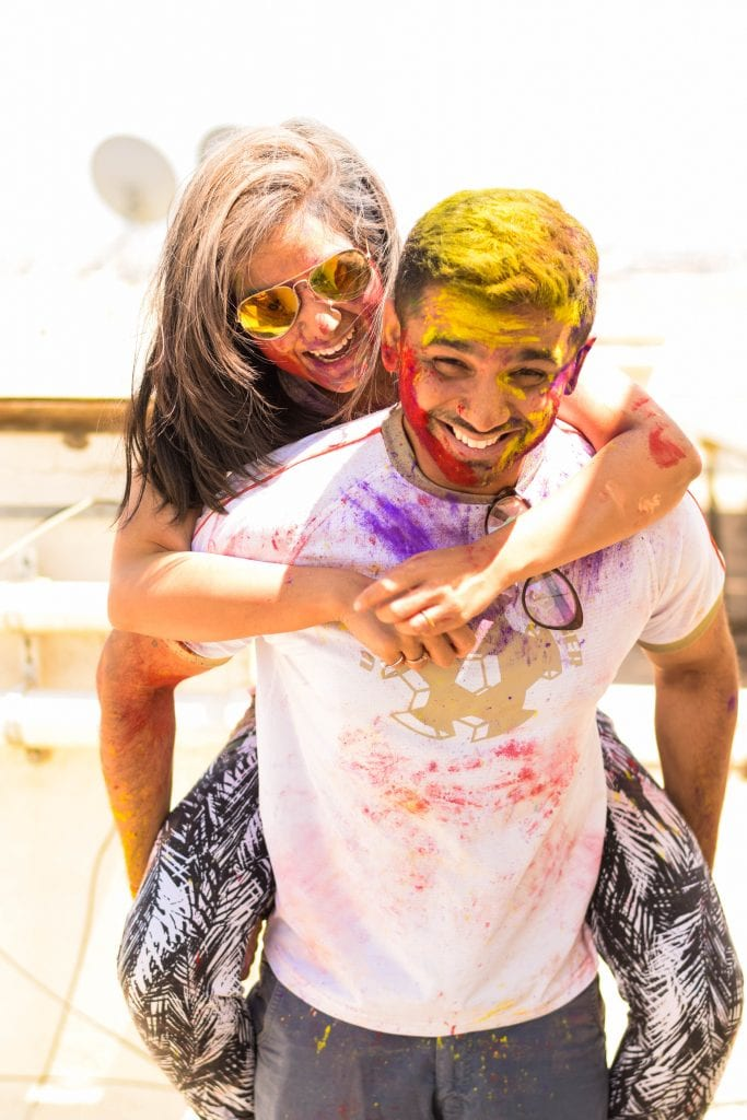 Picture of a boy and girl playing holi